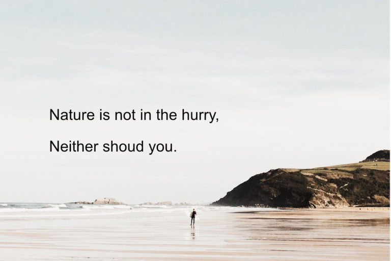 Nature is not in the hurry – Why Should You?